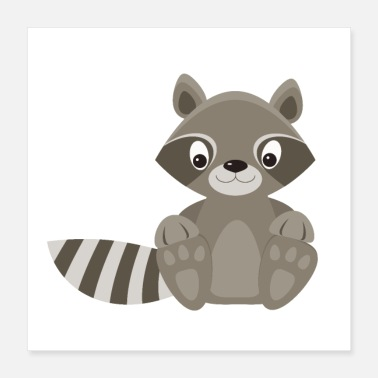 Pretty Waschbär Raccoon racoon cute baby animals - Poster 40x40 cm