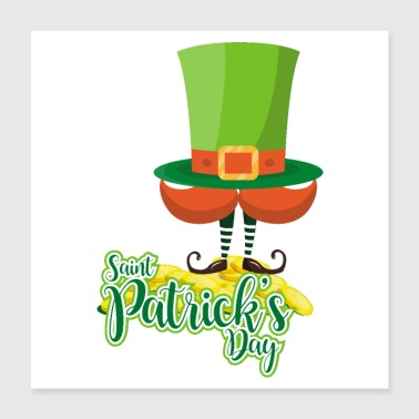 St Patricks Day St. Patrick's Day hat beard elf foot boots - Poster 40x40 cm