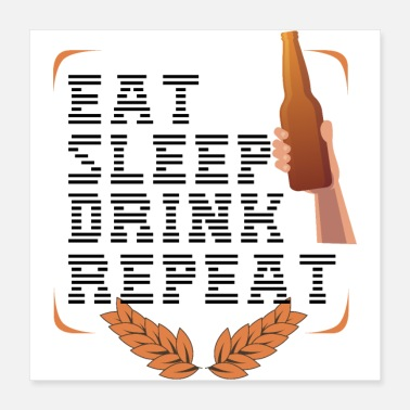 Dirndl Oktoberfest Eat Sleep Drink Repeat Black Gift - Poster 40x40 cm