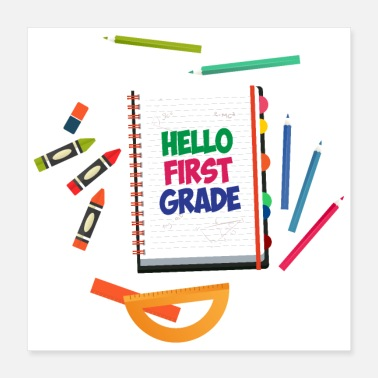 Ruler First day of school Hello First Grade Preschool - Gift - Poster