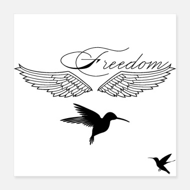Freedom Freedom - Bird Design - Poster 40x40 cm