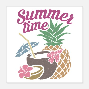 Hawaii Zomertijd Hawaii Cocktail Coconut Straw - Poster 40x40 cm