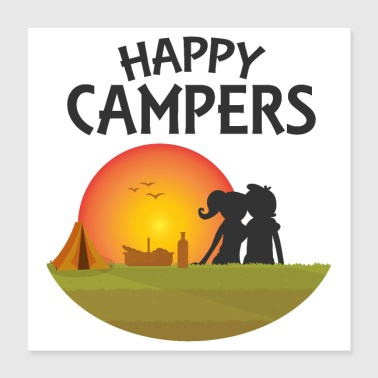 Basket Outdoor Happy Campers Black - Gift idea - Poster 40x40 cm