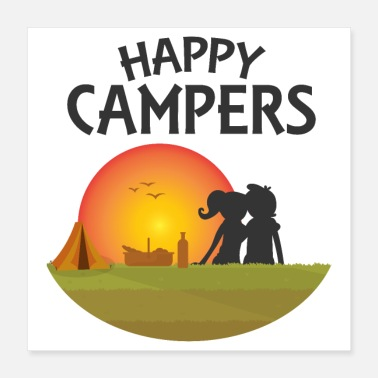 Happy Birthday Outdoor Happy Campers Black - Idée cadeau - Poster 40 x 40 cm