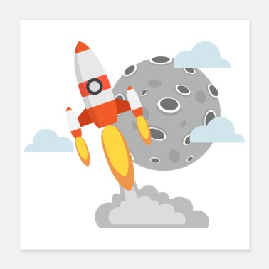 Transport Flat Design Rocket Moon Sky Adventure Space - Poster 40x40 cm