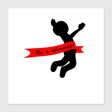 Stick Figure joy of victory - Poster 40x40 cm