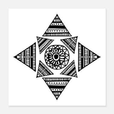 Velstand Trunk Shapes Tattoo Triangle Maori Tribe Eyes - Poster