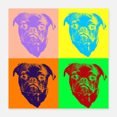 Dogowner Pop Art Style Sweet Pug Dog Head - Gift Idea - Poster