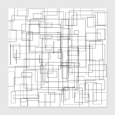 Freestyle Rectangles Motif freestyle noir et blanc - Poster 40 x 40 cm