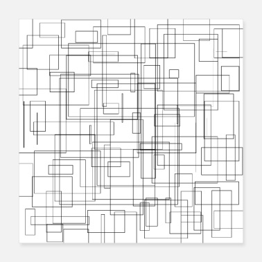 Freestyle Rectangles pattern freestyle black and white - Poster 40x40 cm