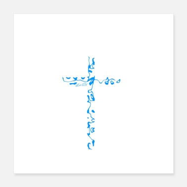 Worship Cross Cross blue - Poster