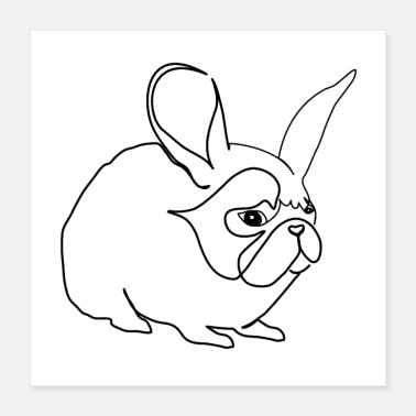 Hase Hase oder Mops - Poster 40x40 cm