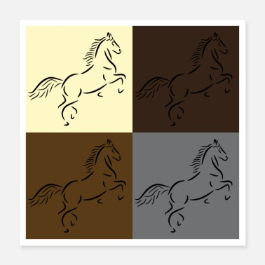 Gallop Horse drawing in pop art style - Poster 40x40 cm