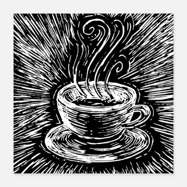 White Coffee woodcut - Poster