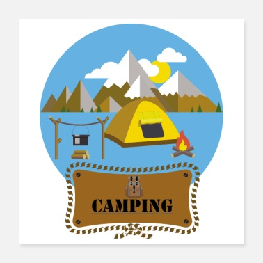 Outdoor Flat Design Outdoor Camping Campfire Tent Mountains - Poster