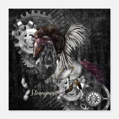 Gallop Stunning steampunk horse with wings - Poster 40x40 cm