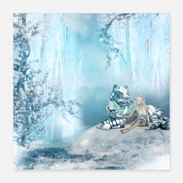 Amazing Amazing Siberian tiger with fairies and birds of f - Poster 40x40 cm