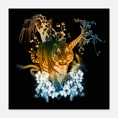 Raider Stunning tiger with flowers - Poster 40x40 cm