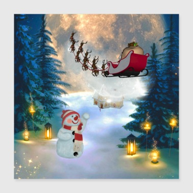 Cute snowman with Santa Claus and reindeer in the - Poster 40x40 cm