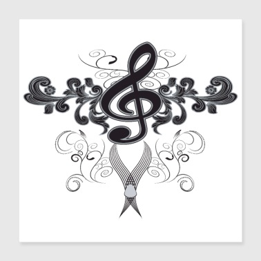 Music key with floral elements - Poster 40x40 cm