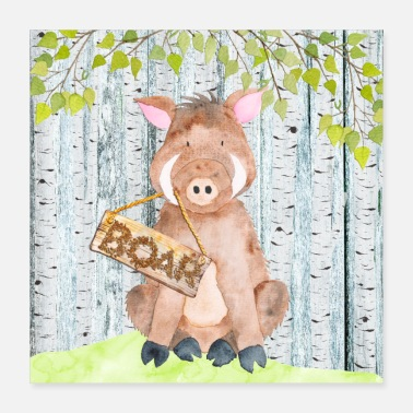 Wild Boar Animal friends in the forest - The little wild boar - Poster