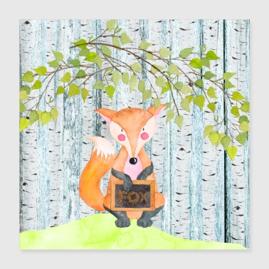 Animal friends in the forest - The little fox - Poster 40x40 cm