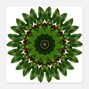 Nature Banana Leaf - Kaleidoscope Nature Pattern - Poster 40x40 cm