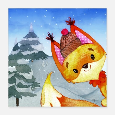 Winter Animal friends in the winter forest - The little fox - Poster