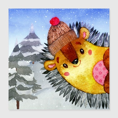 Animal friends in the winter forest - The little hedgehog - Poster 40x40 cm