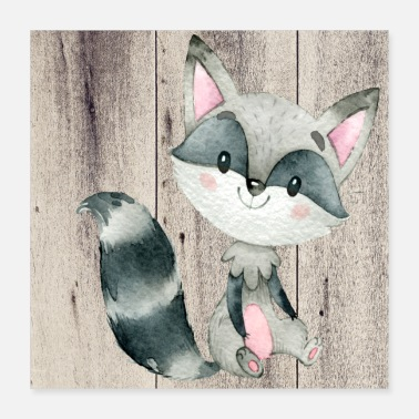 Animal Animal friends in the forest - The little raccoon - Poster