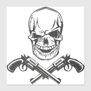 Gangster Skull and Guns - Poster 40x40 cm