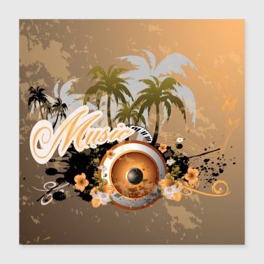 Music speaker with piano - Poster 40x40 cm