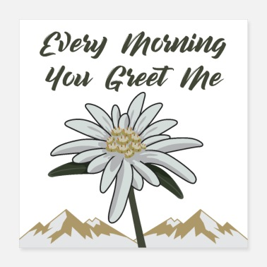 Blume Edelweiss Every Morning You Greet Me - Poster 40x40 cm