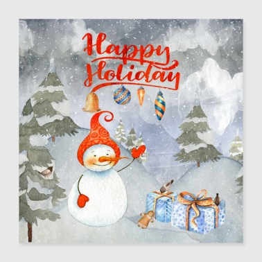 Snowflake Christmas greetings - merry snowman - Poster 40x40 cm
