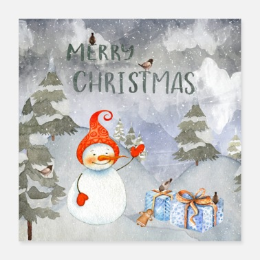 Snowman Christmas greetings - merry snowman - Poster 40x40 cm