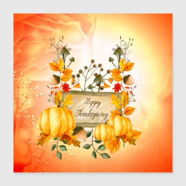 Morsomt Happy Thanksgiving Day - Poster 40x40 cm