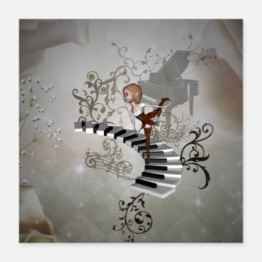 Classical Music Cute fairy music dancing on a piano - Poster 40x40 cm