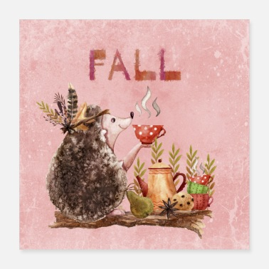 Autumn Autumn friends - hedgehog with tea - Poster