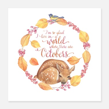 October Autumn Friends - October - Fawn - Poster 40x40 cm