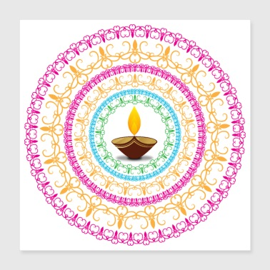 Diwali Light Mandala colourful - cadeau idee - Poster 40x40 cm