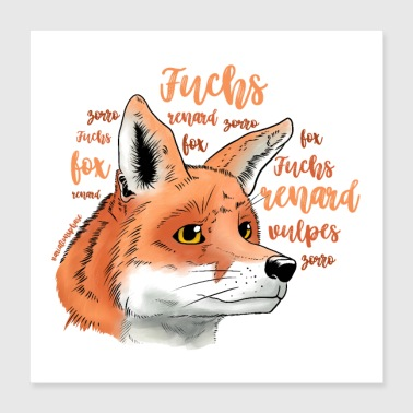 Language Fox portrait with lettering - Poster 40x40 cm
