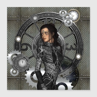 Ihana steampunk lady - Juliste 40 x 40 cm