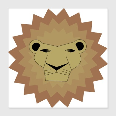 Safari Rødgrå Lion / King / Safari / Animal - Poster 40x40 cm