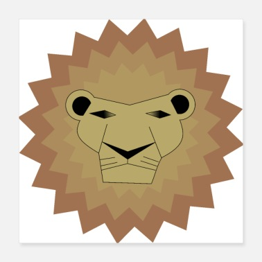 Safari Reddish Gray Lion / King / Safari / Animal - Poster 40x40 cm