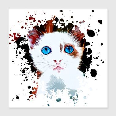 Watercolour gxp cute cat blue eyes vector art - Poster 40x40 cm