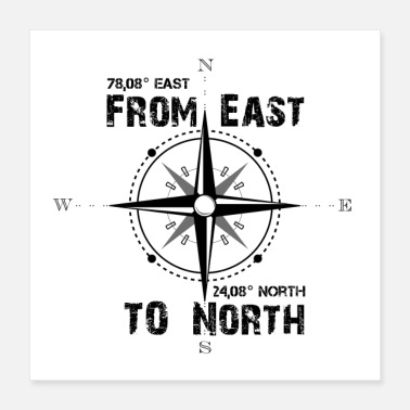 Motto east to north - Poster 40x40 cm