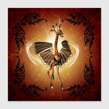 Cute Funny cute giraffe with wings - Poster 40x40 cm