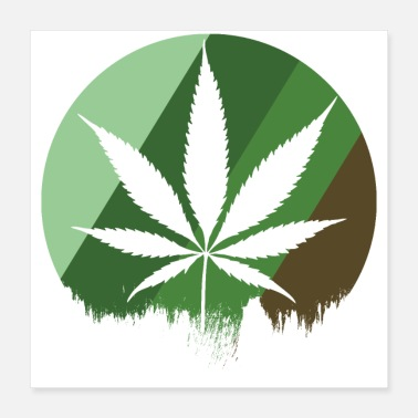 Cannabis Cannabis leaf circle stripes - Poster 40x40 cm