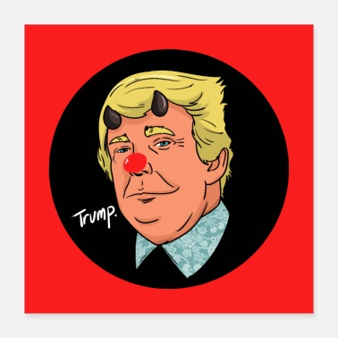 Devil Male Trump cartoon devil popart illustration - Poster