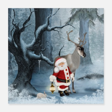 Claus Merry Christmas Santa Claus with reindeer in the forest - Poster